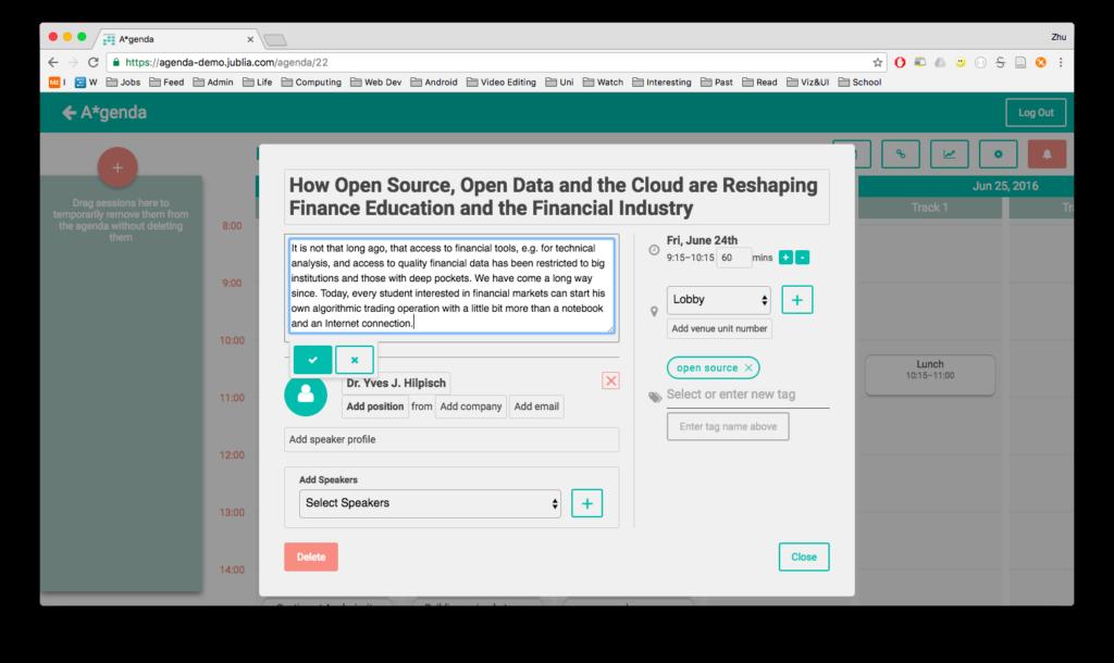A*genda - screenshot of agenda builder interface, used by event organizers to create event agenda