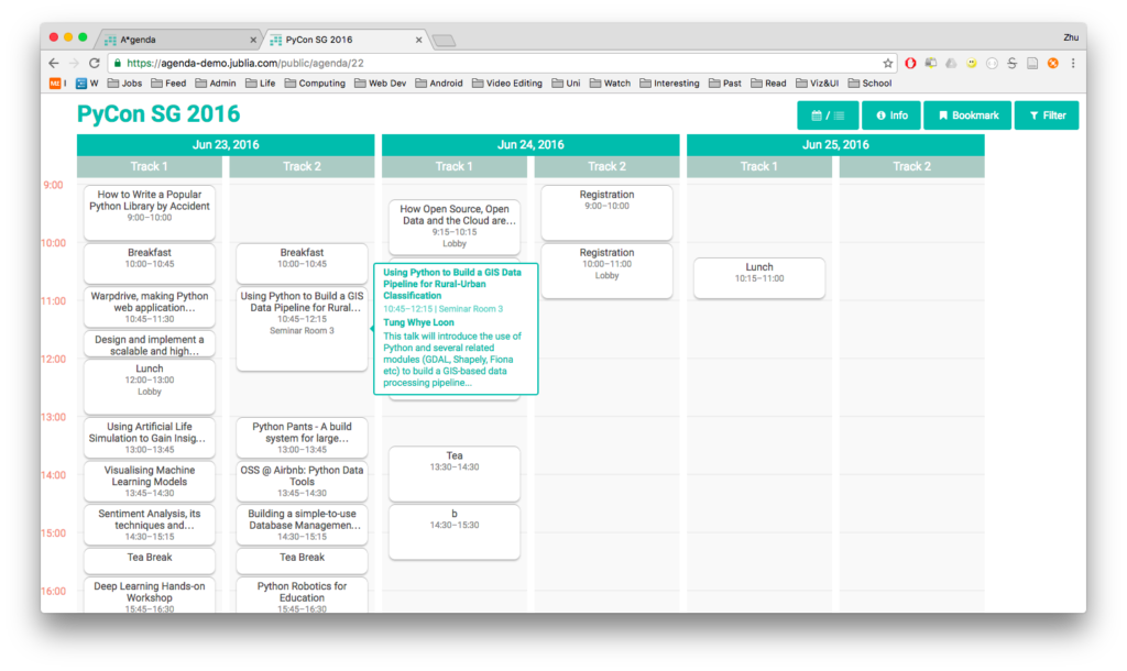 A*genda - screenshot of PyCon SG 2016 agenda for event participants