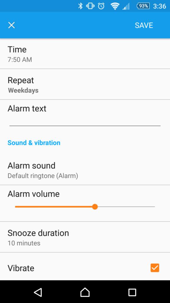 sony z3 alarm setting