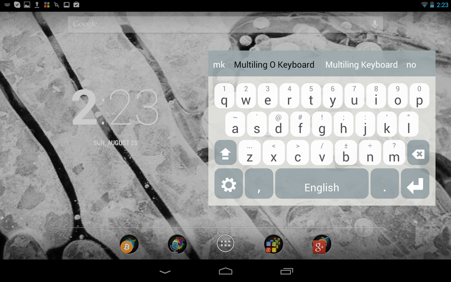 Touchpal keyboard alternative with slide down for symbols