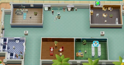 Build waiting areas between rooms that patients visit, with vending machines.