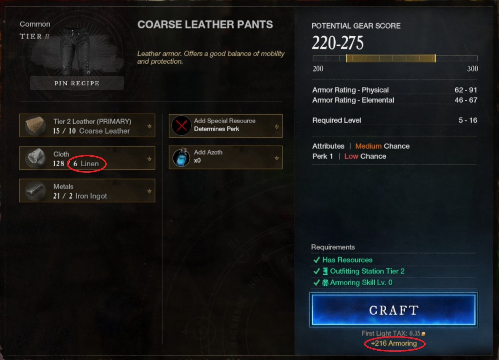 Level up Armoring in New World using tier 2 pants
