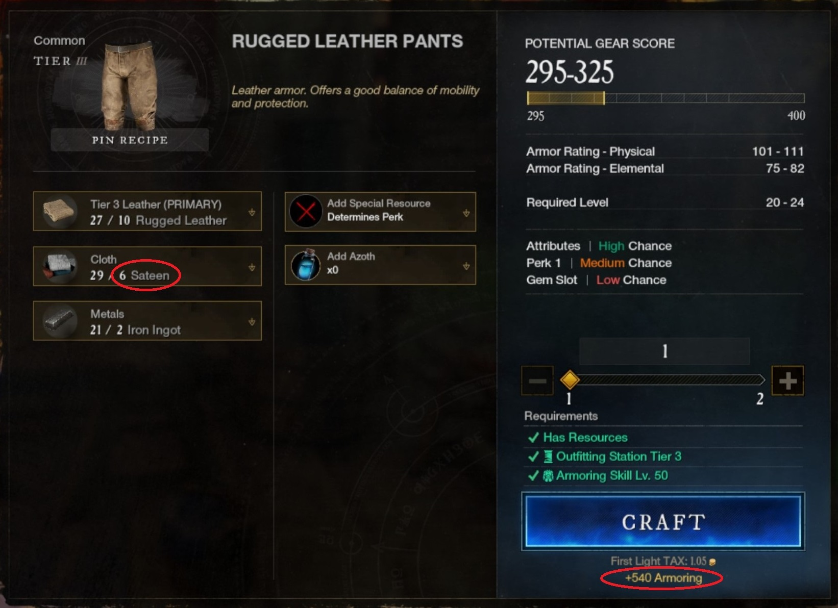 Level up Armoring in New World using tier 3 pants